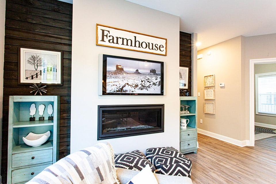 Southampton model master bedroom with barn door