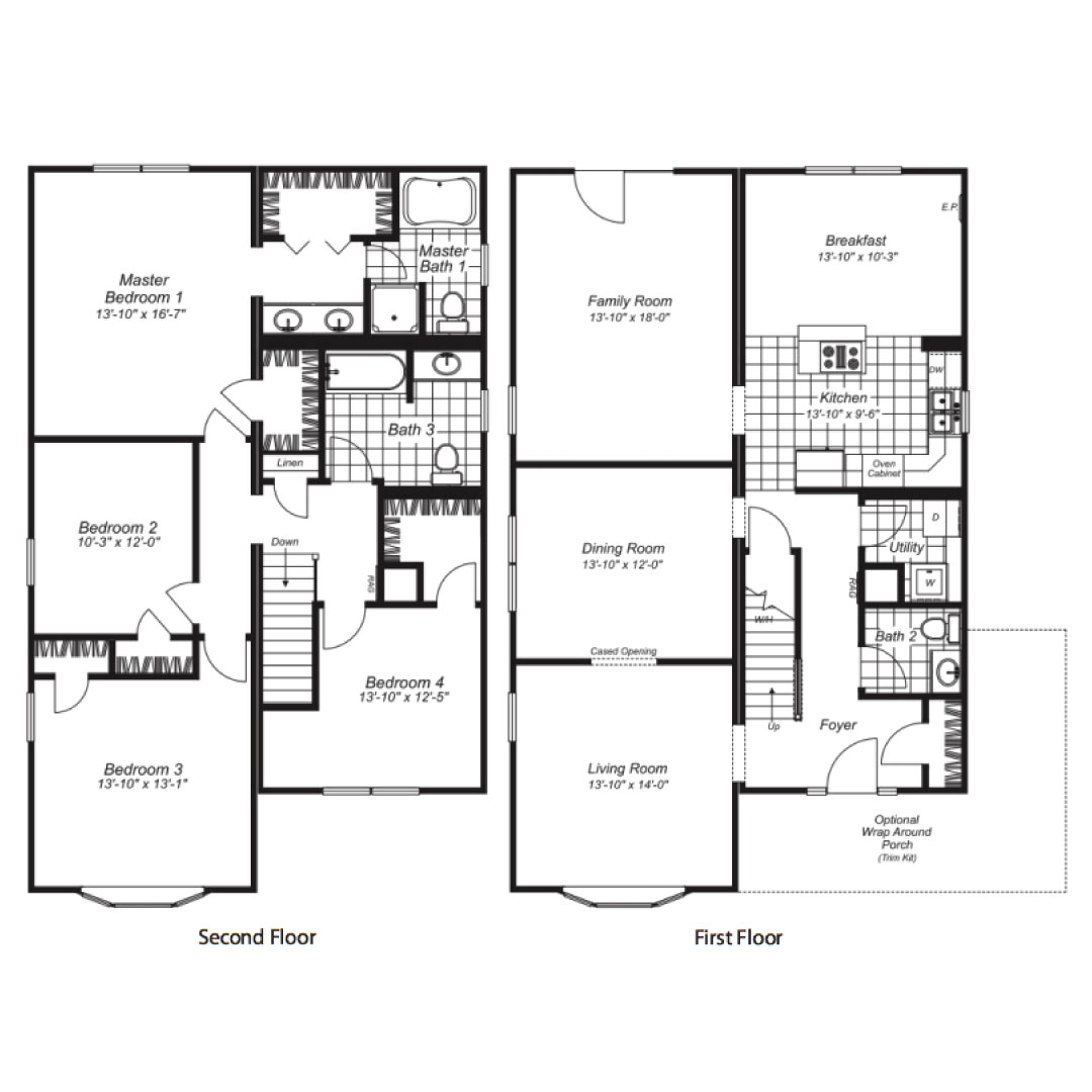 Charlotte Two Story Modular Home Floor Plan