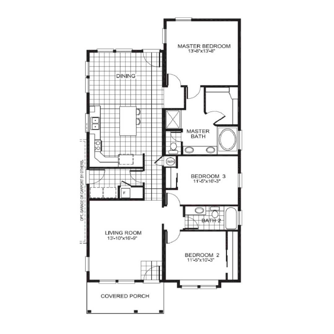 Copley Square Ranch Modular Home Floor Plan