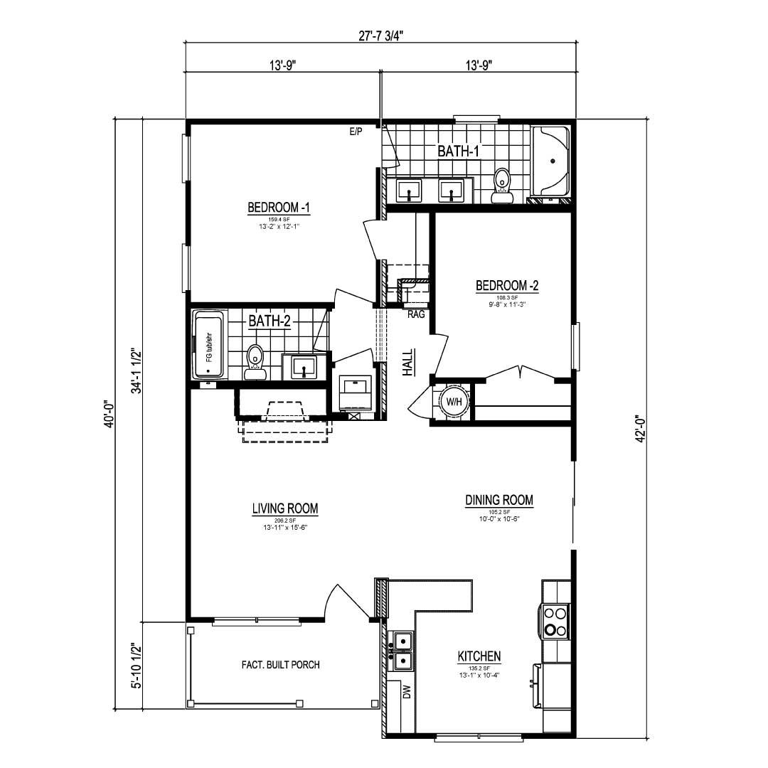 Craven I Ranch Modular Home Floor Plan