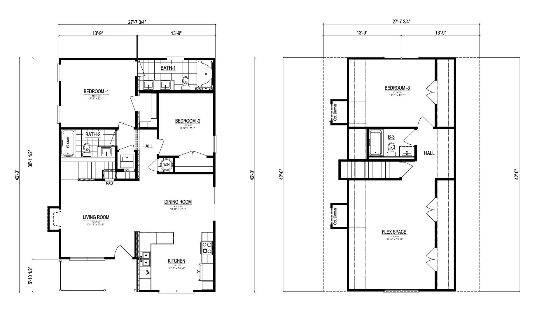 Craven II Cape Cod Modular Home Floor Plan