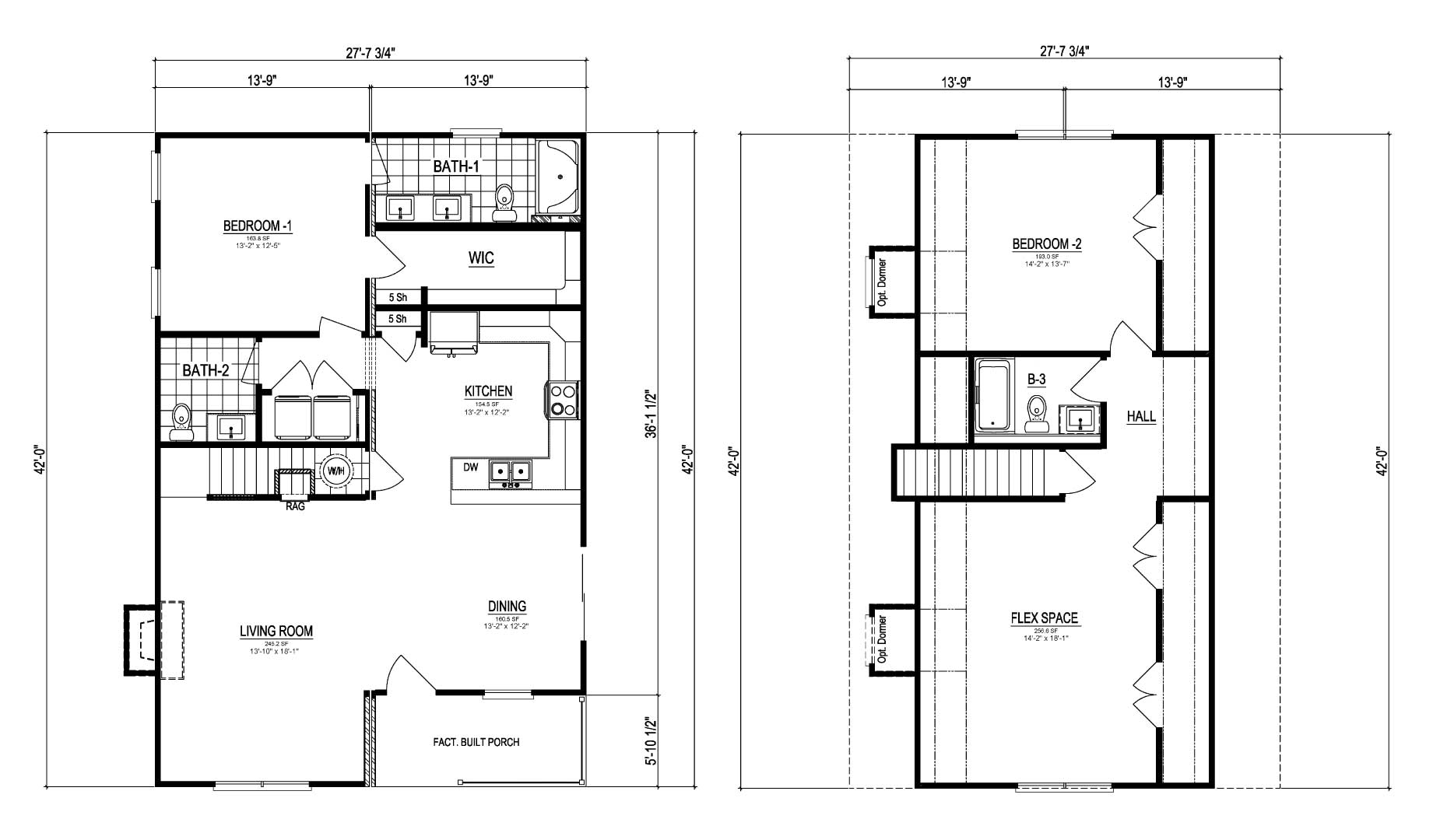 Craven III Cape Cod Modular Home Floor Plan
