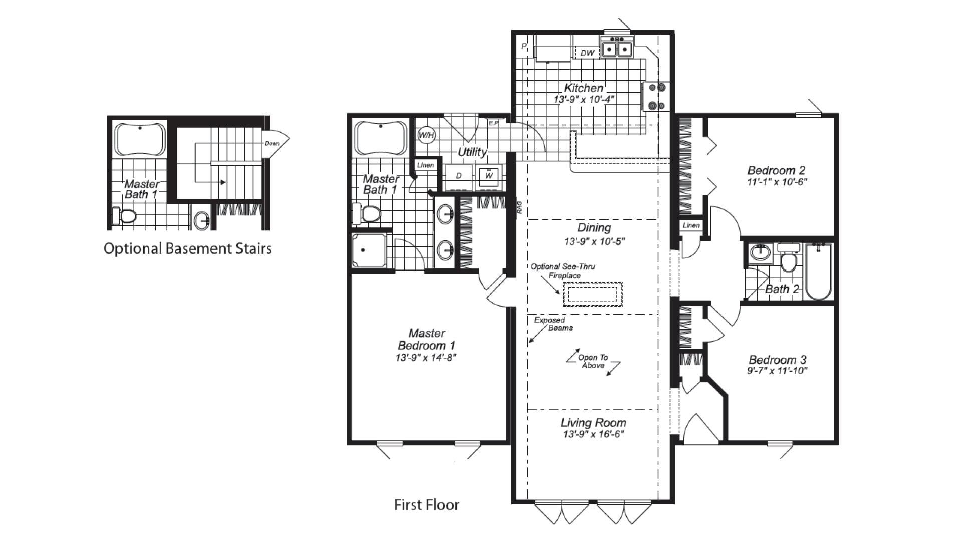 Hickory II Ranch Modular Home Floor Plan
