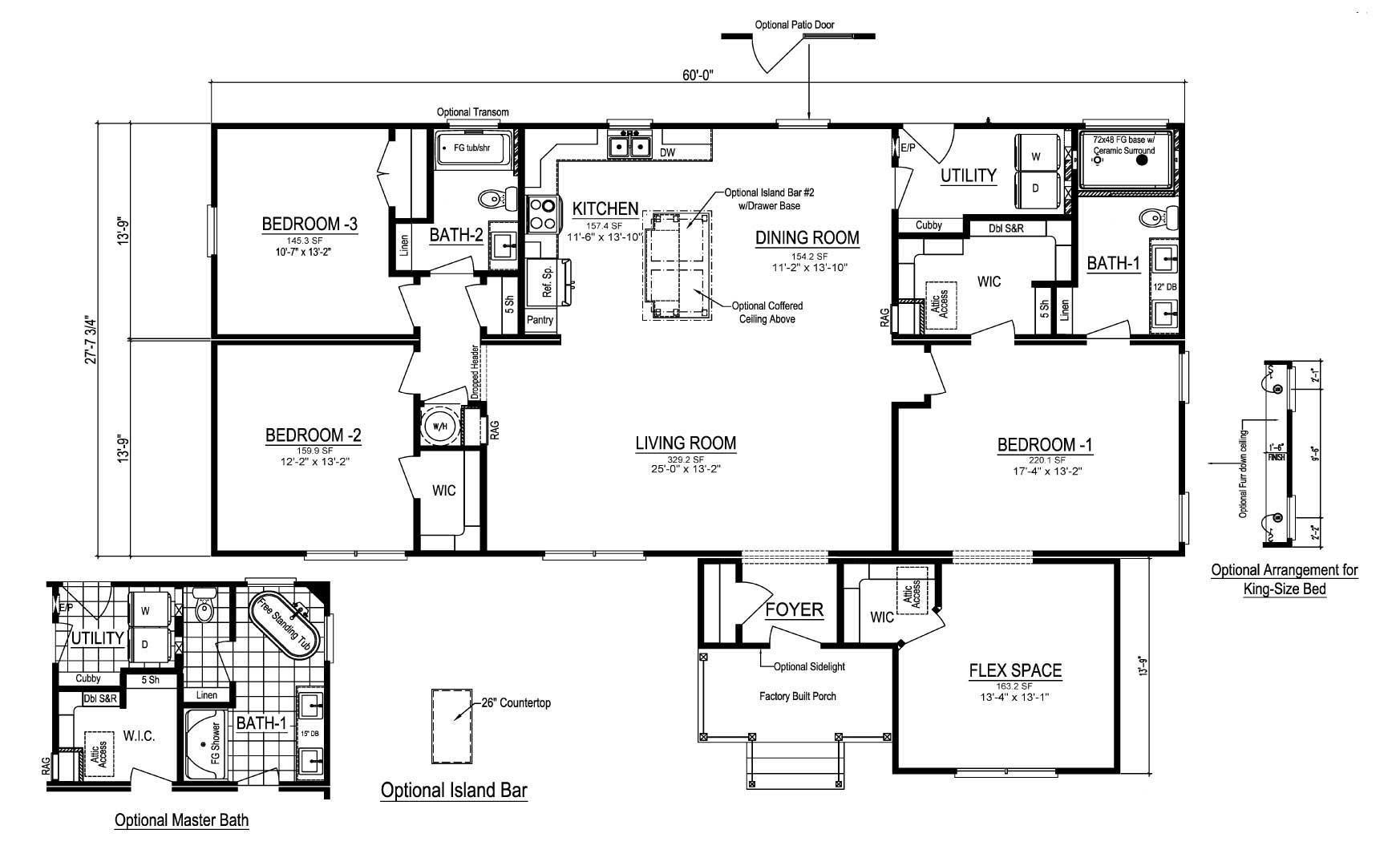 Homestead II Ranch Modular Home Floor Plan
