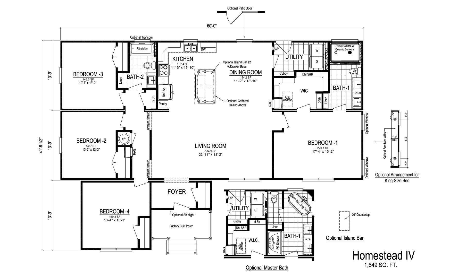 Homestead IV Ranch Modular Home Floor Plan