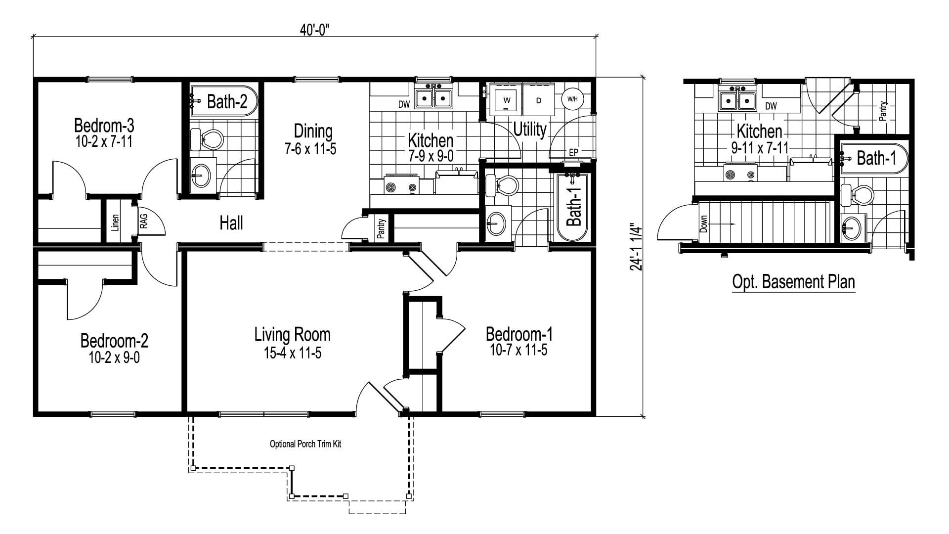 Newbury Ranch Modular Home Floor Plan
