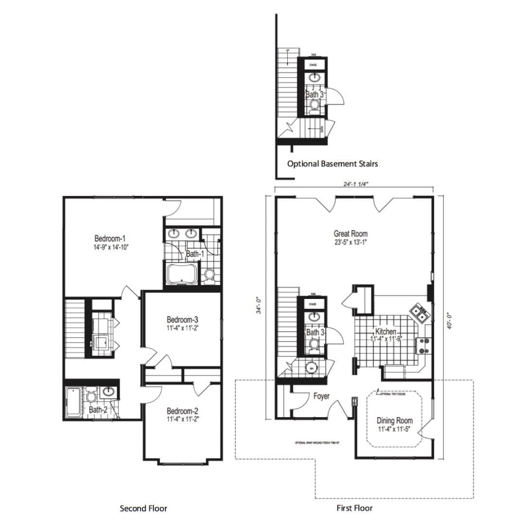 St Helena Two Story Modular Home Floor Plan
