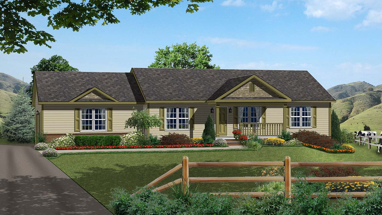 Aspen ranch modular home rendering with craftsman exterior