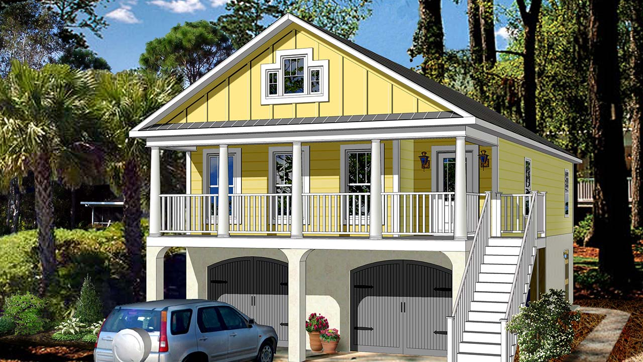 Bayview ranch modular home rendering with yellow coastal exterior