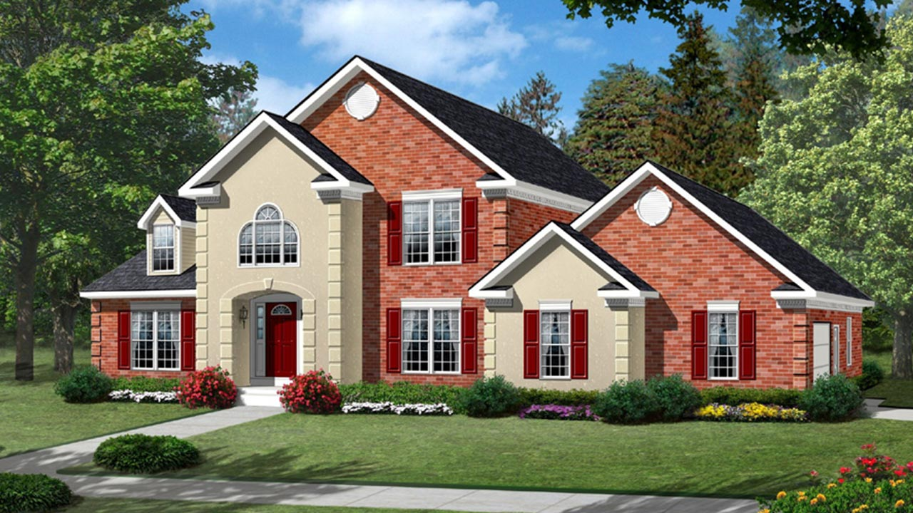 Birmingham two story modular home rendering with brick