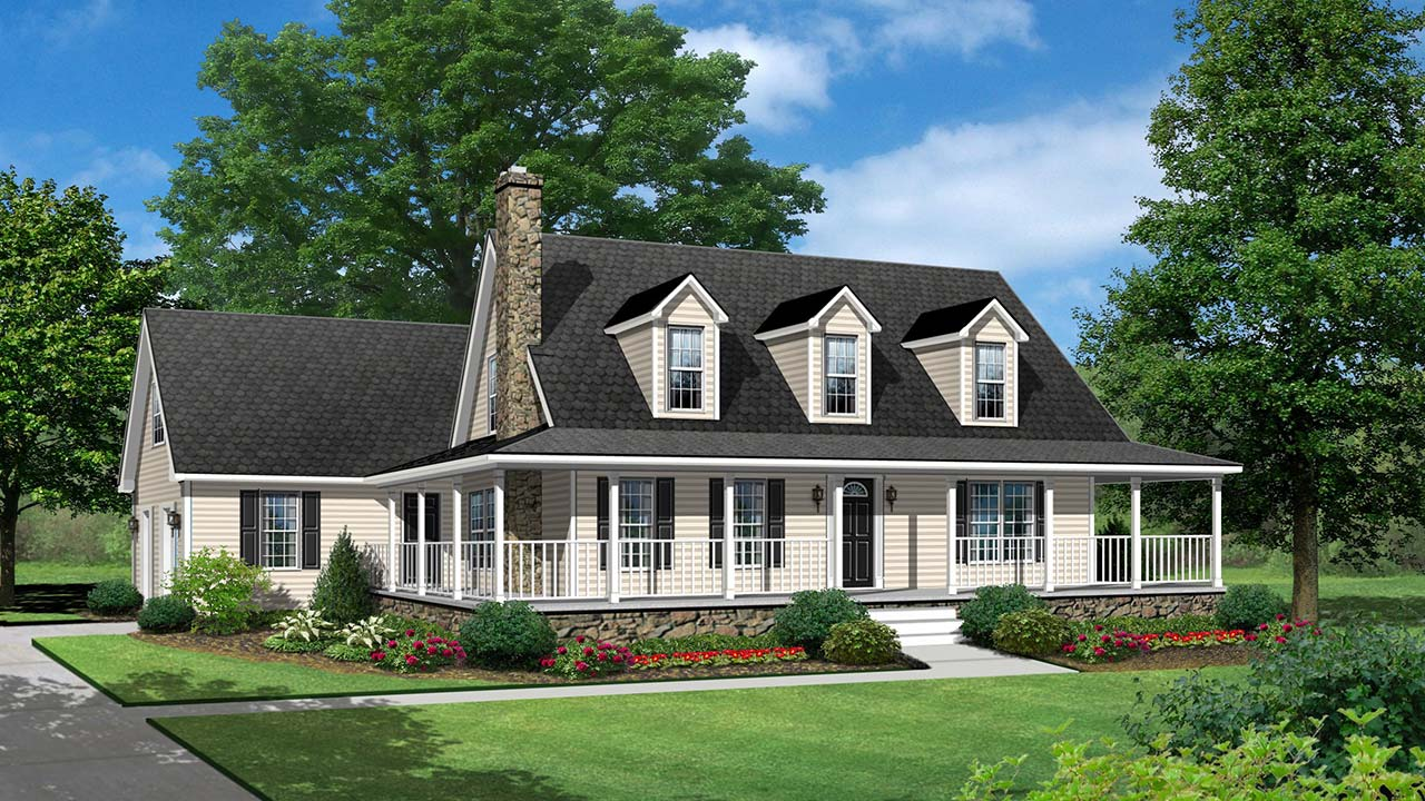 Blue Ridge cape cod modular home rendering with country exterior