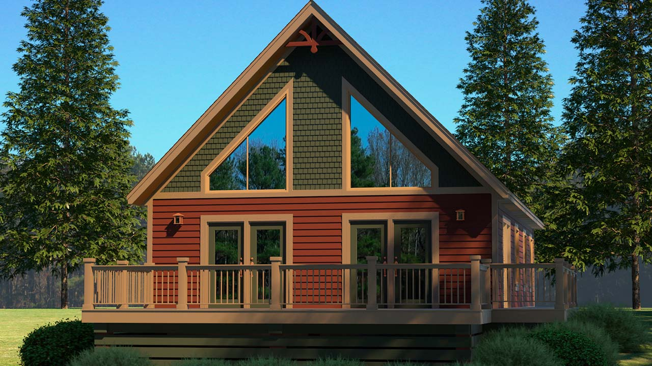 Boone chalet modular home rendering with craftsman exterior