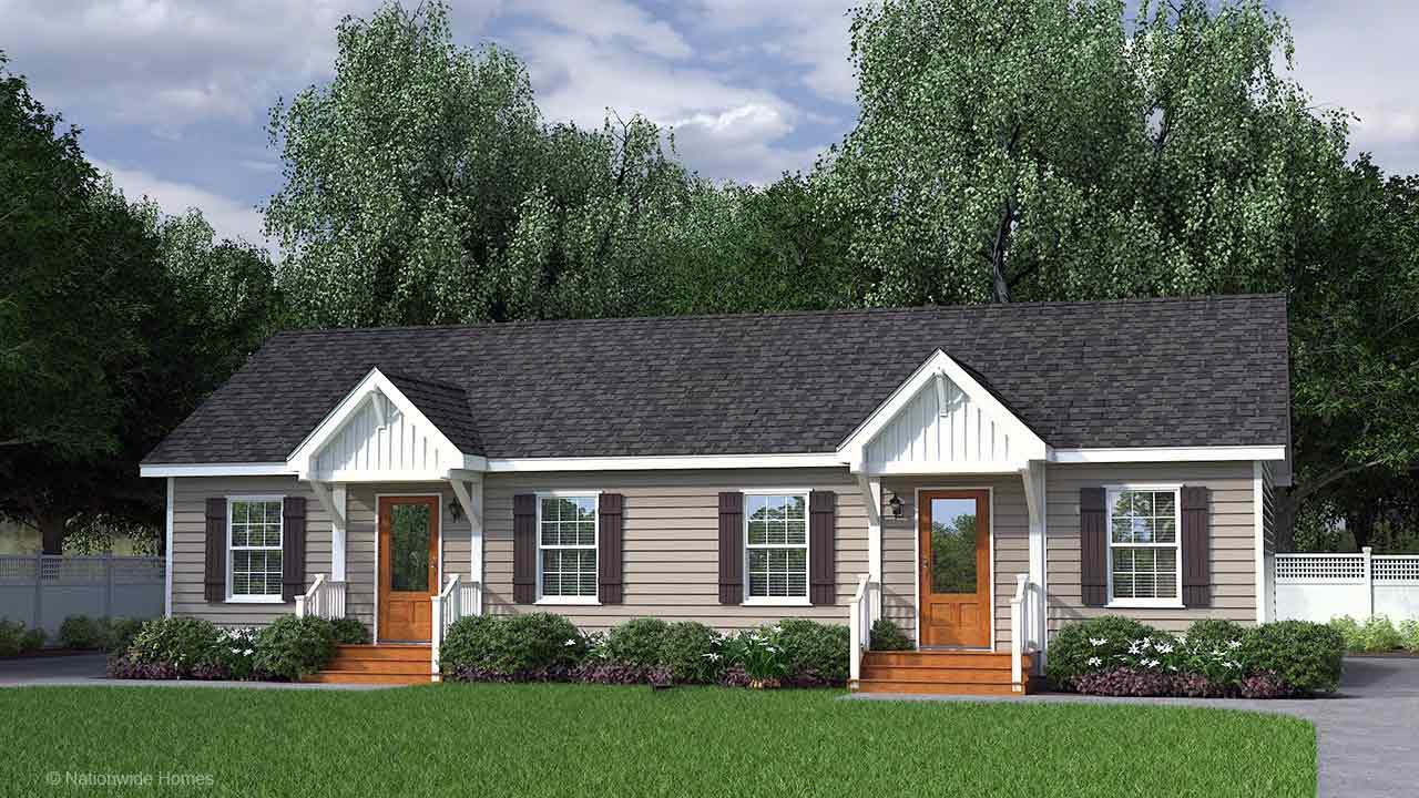 Bridgewater duplex ranch modular home duplex rendering with craftsman exterior