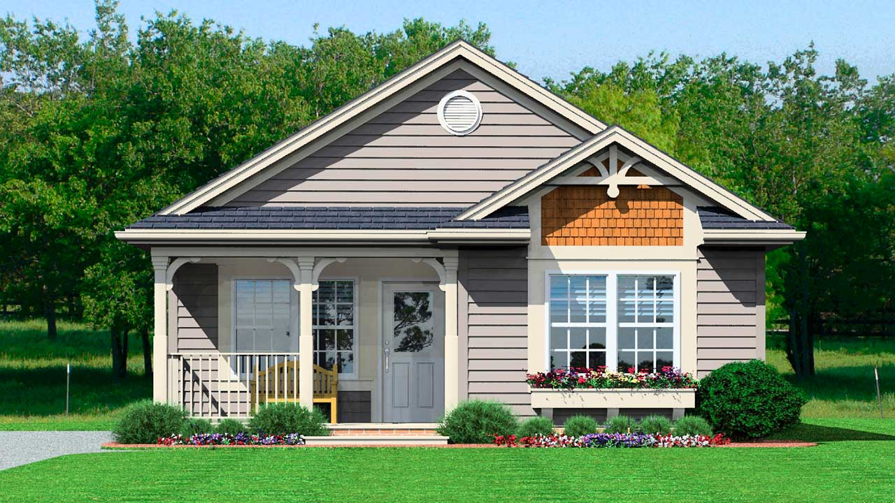 Brookdale ranch modular home rendering with craftsman exterior