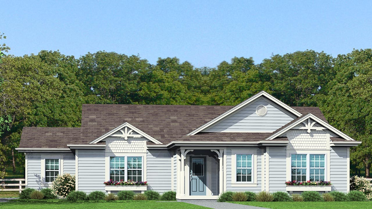 Calhoun ranch modular home rendering with craftsman exterior