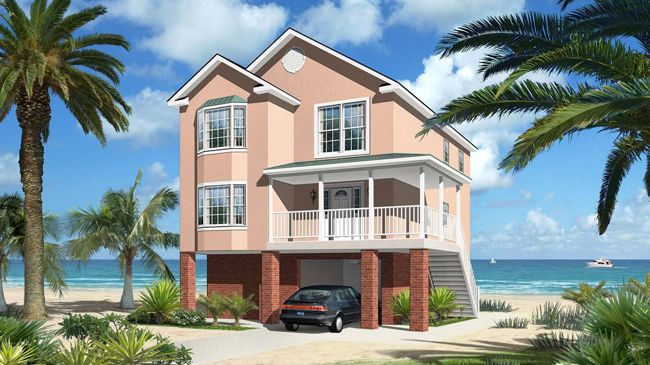 Charlotte two-story modular home rendering with pink coastal exterior