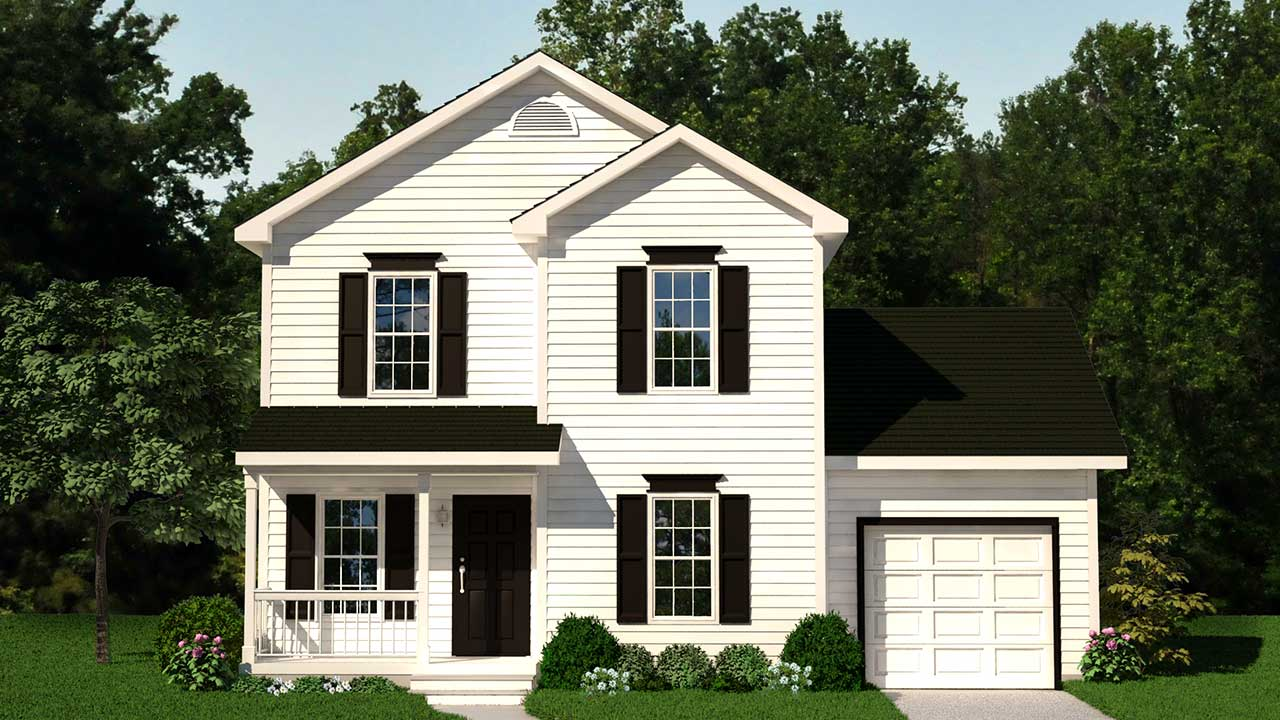 Chatham two-story modular home rendering with white traditional exterior