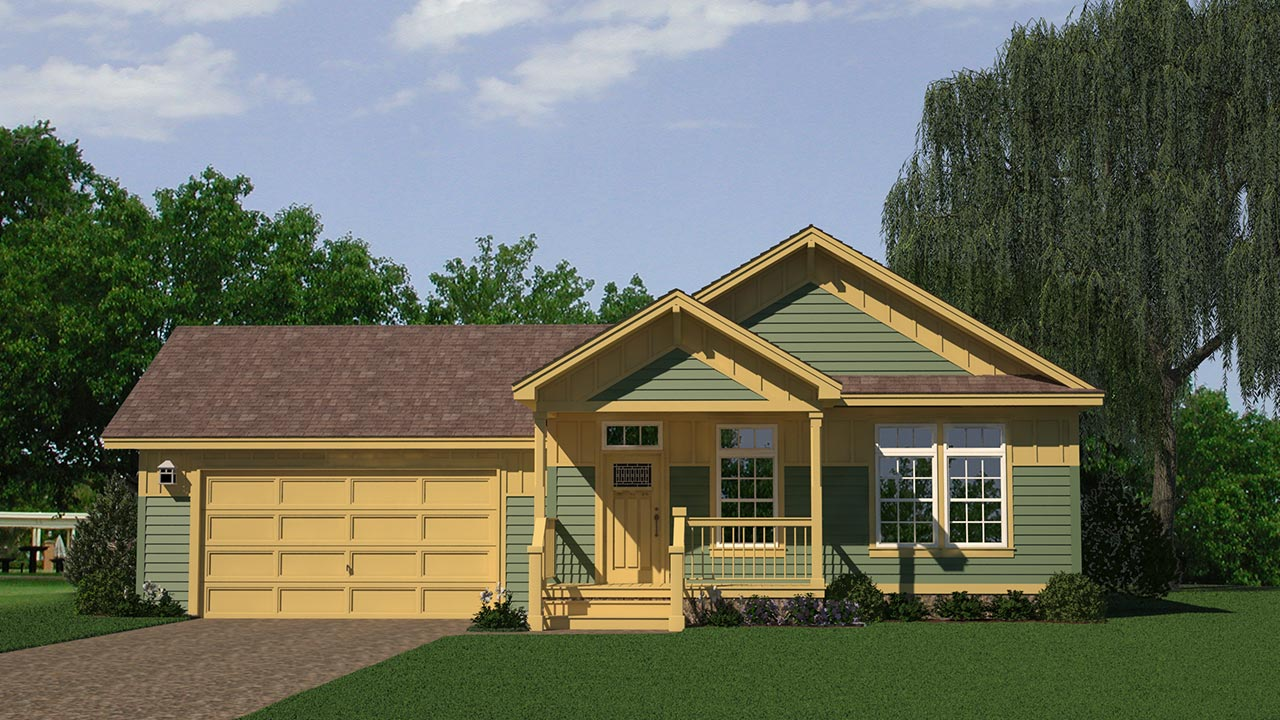 Copley Square ranch modular home rendering with craftsman exterior