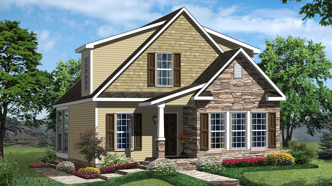 Dogwood cape cod modular home rendering with yellow exterior