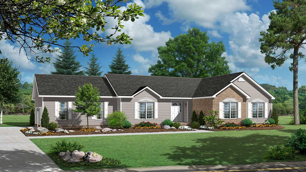 Downingtown ranch modular home rendering with traditional exterior