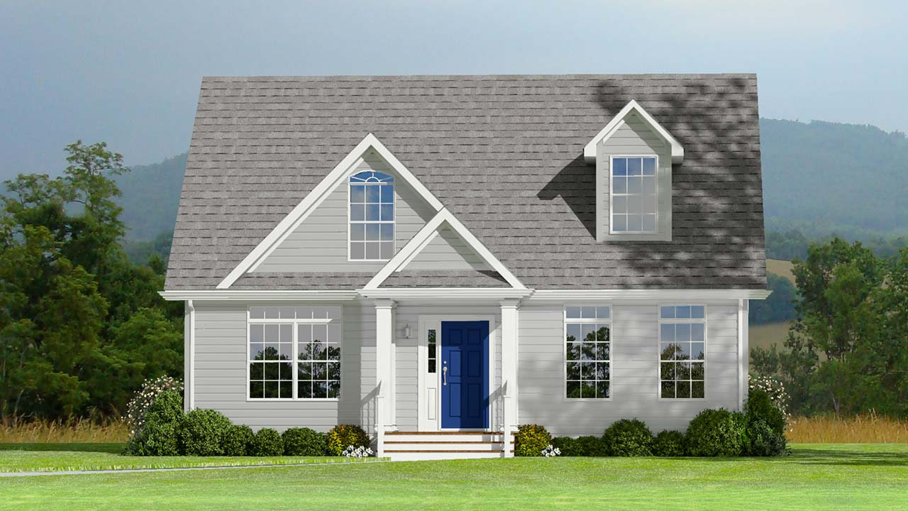 Essex II cape cod modular home rendering with white exterior and blue door