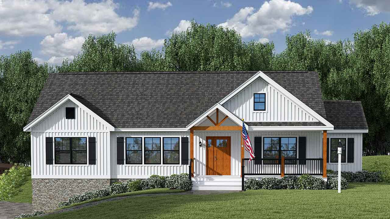 Farmhouse III ranch modular home rendering with craftsman exterior