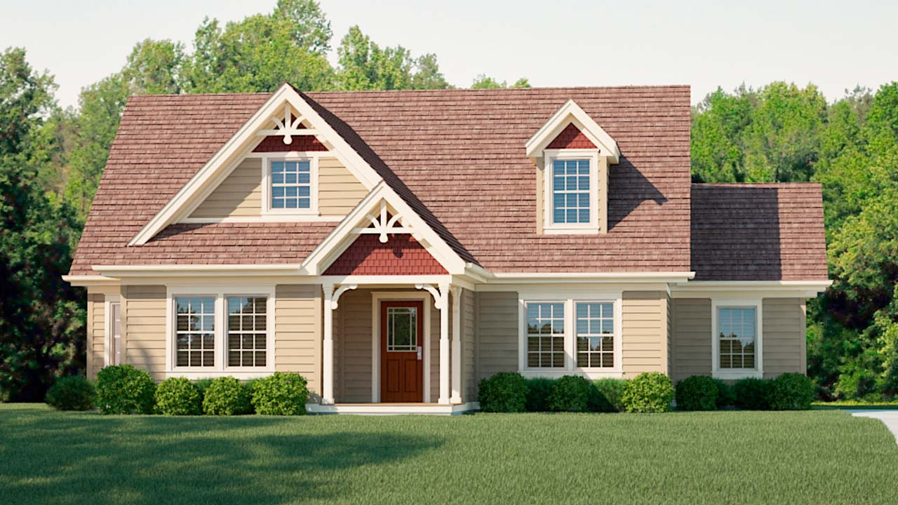 Liberty cape cod modular home rendering with traditional exterior