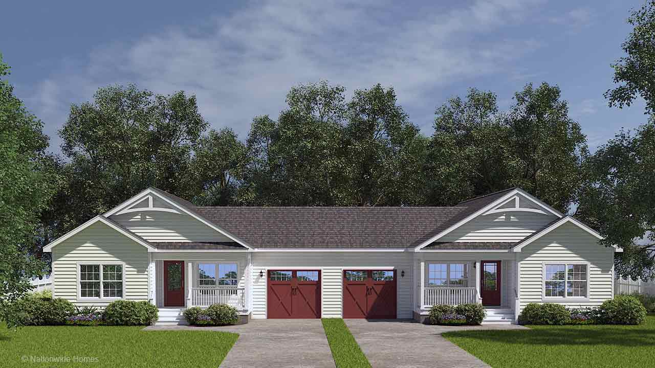 George Mason duplex ranch modular home duplex rendering with garages