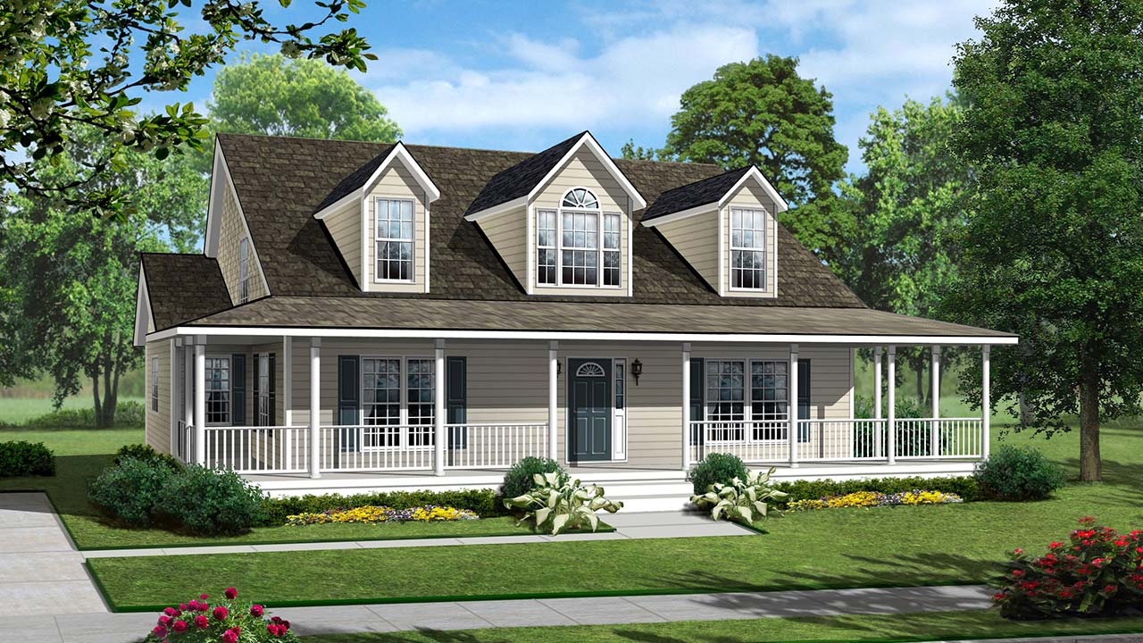 Glendale cape cod modular home rendering with traditional exterior