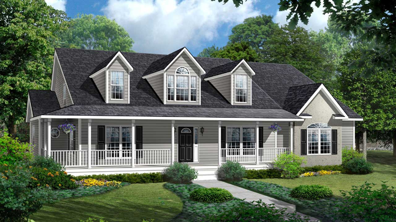 Cape cod modular home with gray exterior