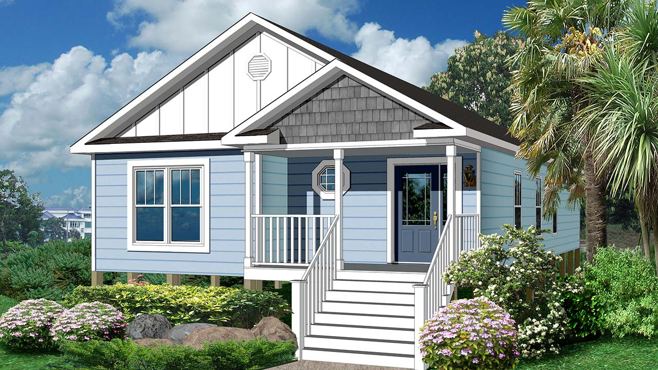 Gulfport ranch modular home rendering with blue coastal exterior