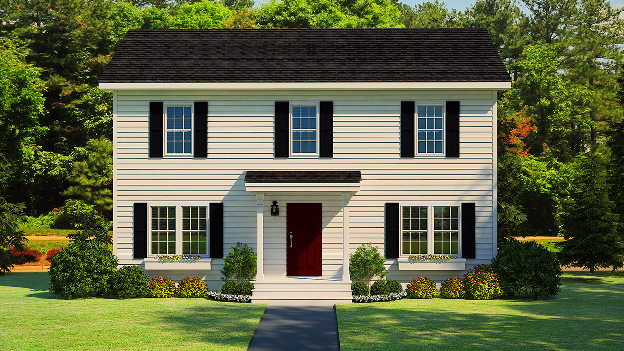 Hampstead two-story modular home rendering with white traditional l exterior