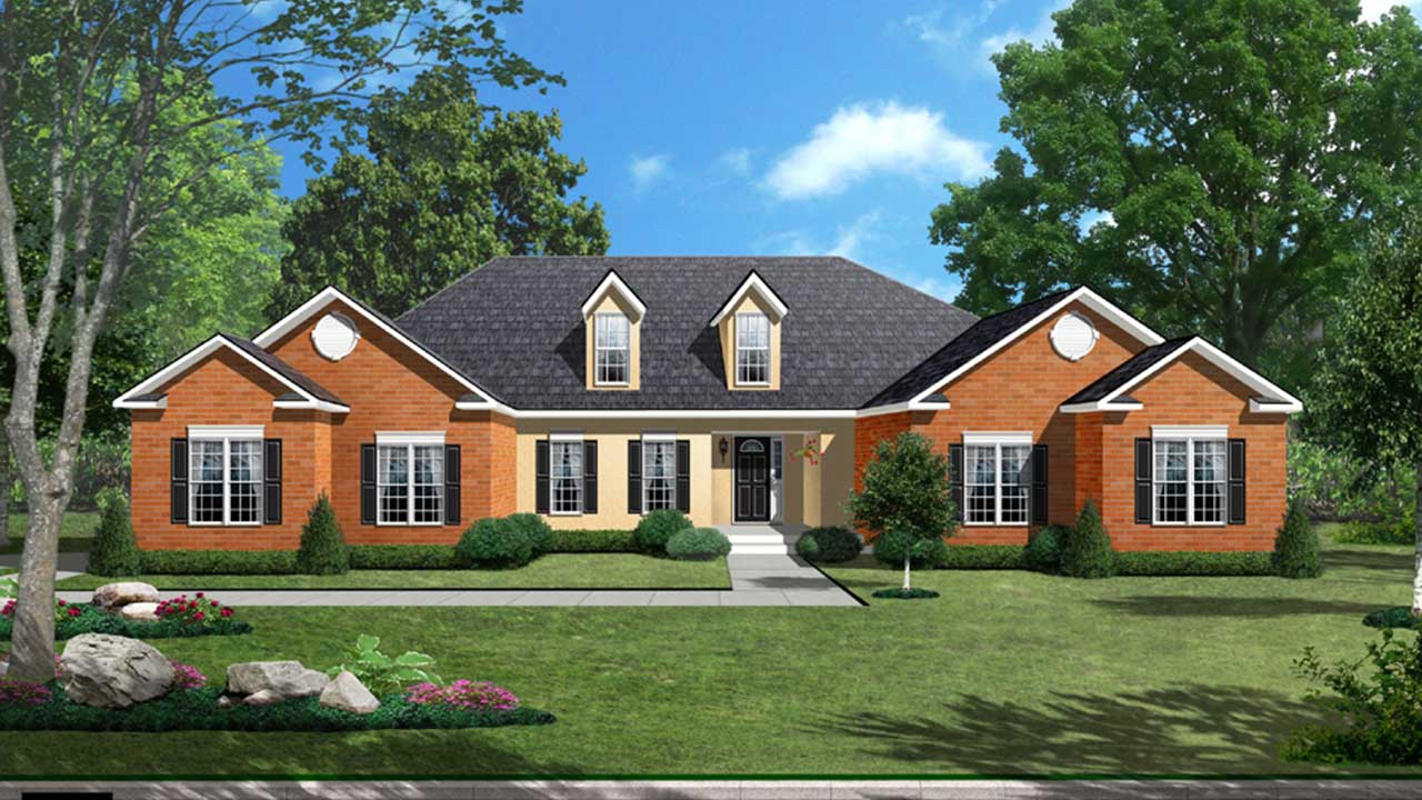 Hampton III Model Rendering Brick Exterior