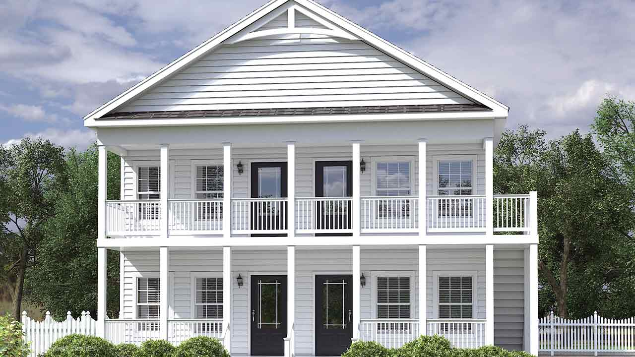 Hatteras duplex modular home rendering with white craftsman exterior