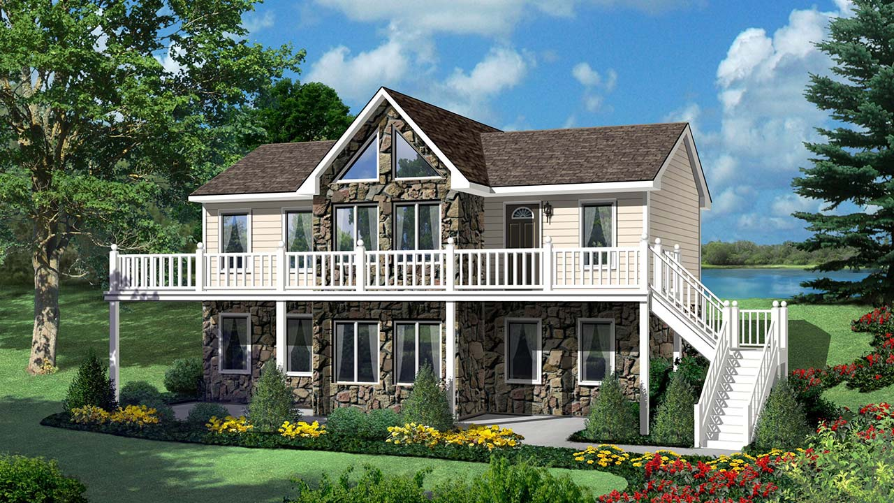 Hickory II ranch modular home rendering with rock exterior