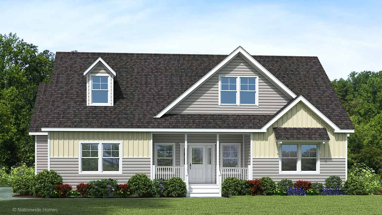 Homestead V912 cape cod modular home rendering with craftsman exterior