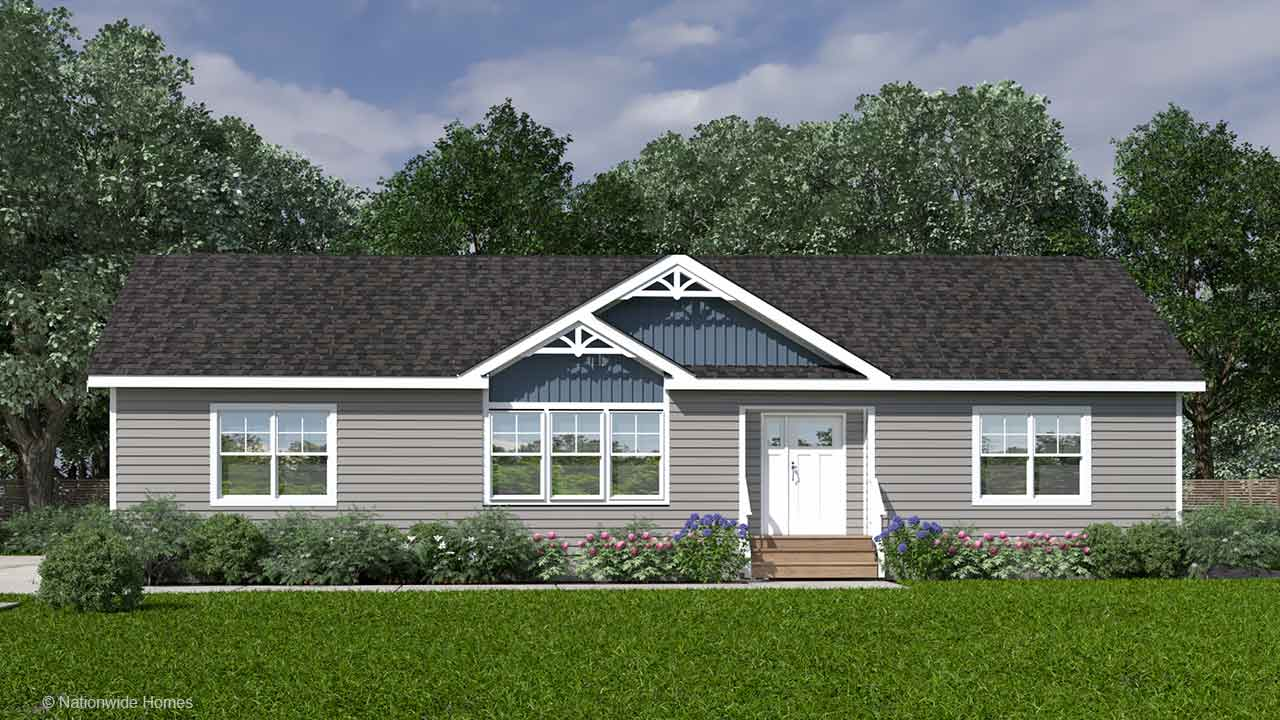 Homestead I ranch modular home rendering with craftsman exterior