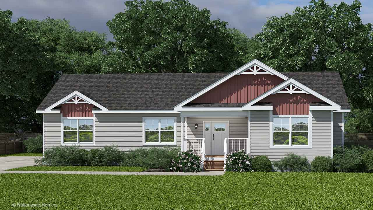 Homestead II ranch modular home rendering with craftsman exterior