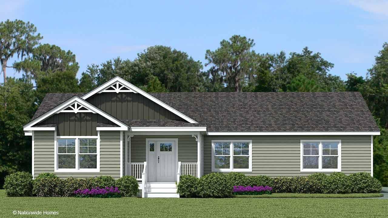 Homestead III modular home rendering with craftsman exterior