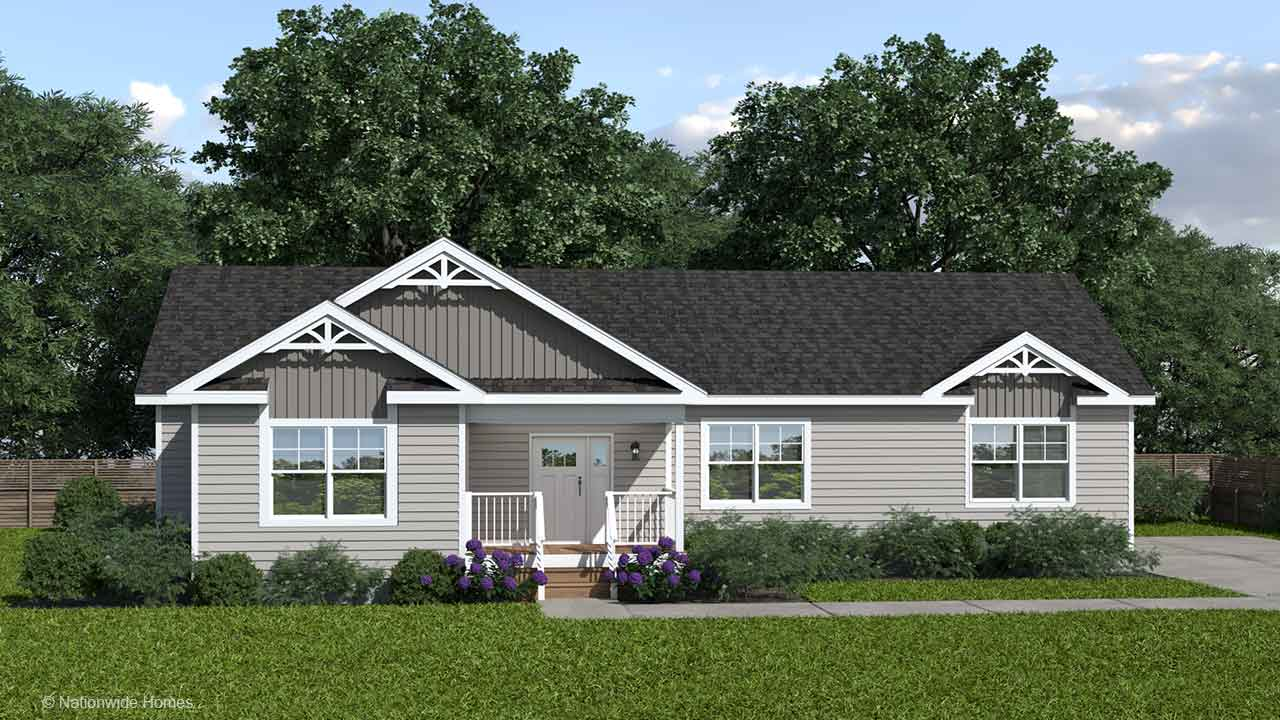 Homestead IV ranch modular home rendering with craftsman exterior