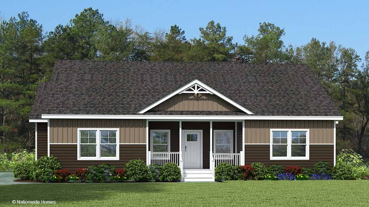 Homestead V712 cape cod modular home rendering with craftsman exterior