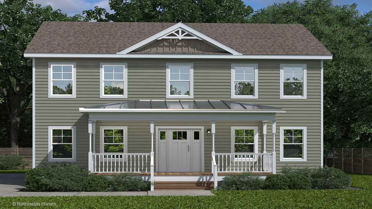 Homestead VII two-story modular home rendering with white craftsman exterior