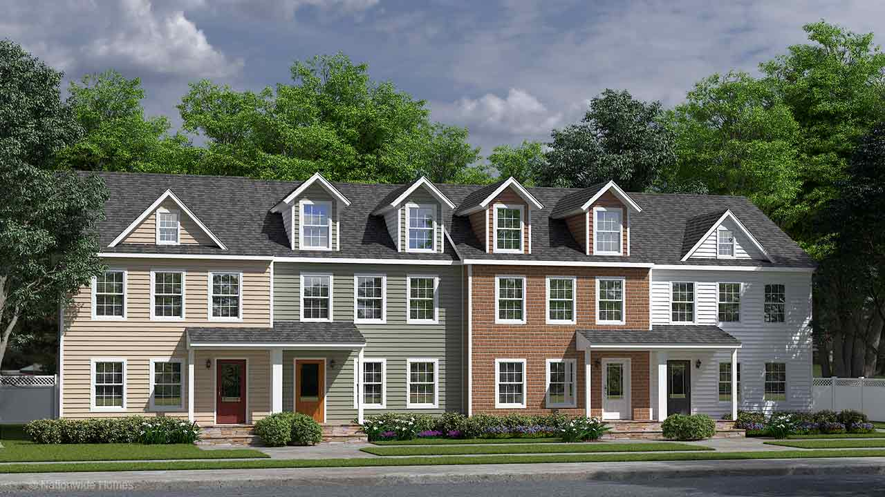 James Madison two story townhomes modular home rendering