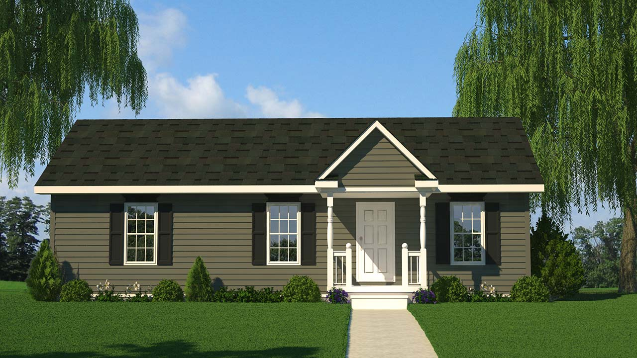 Kent ranch modular home rendering with country exterior