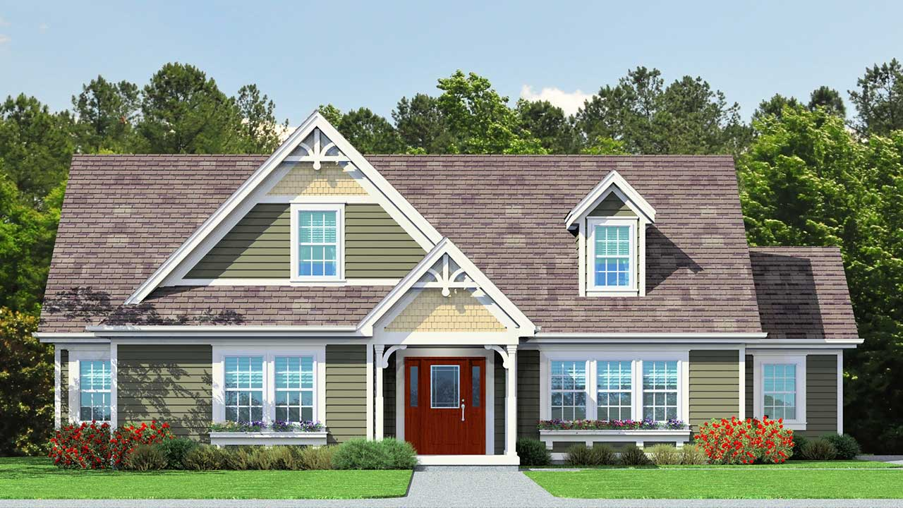 Liberty modular home rendering with craftsman exterior