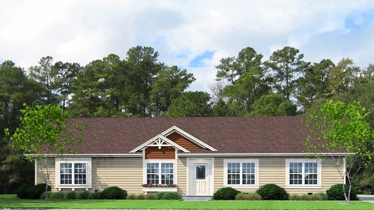 Magnolia I ranch modular home rendering with traditional exterior