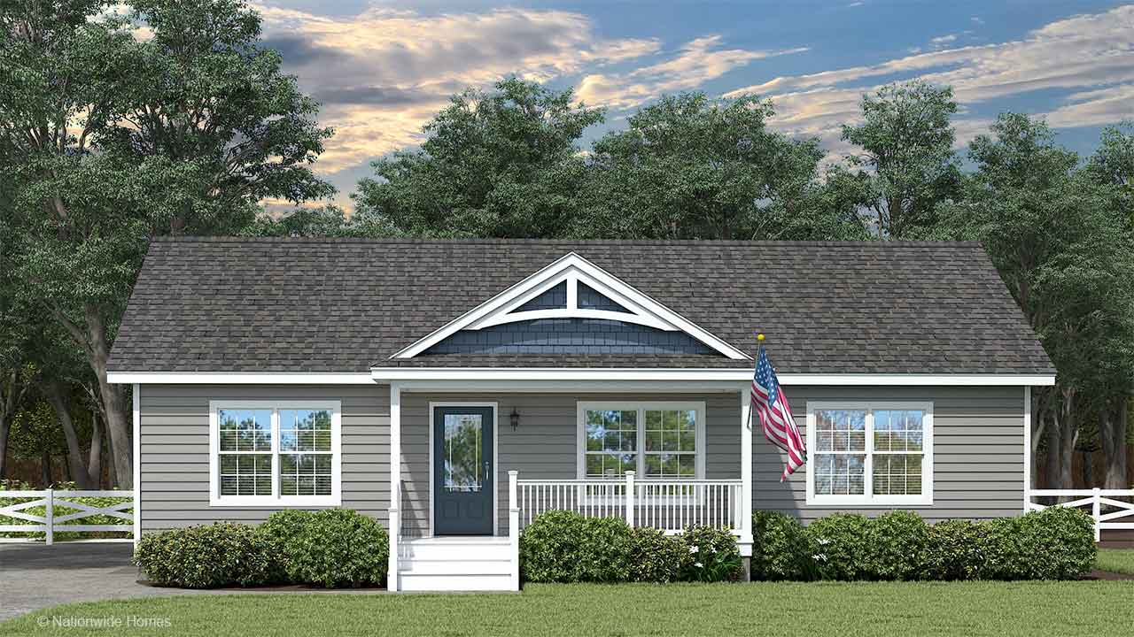Nationwide Homes Modular Home Rendering Mainstreet Elite Aspen Ranch Model Elevation A