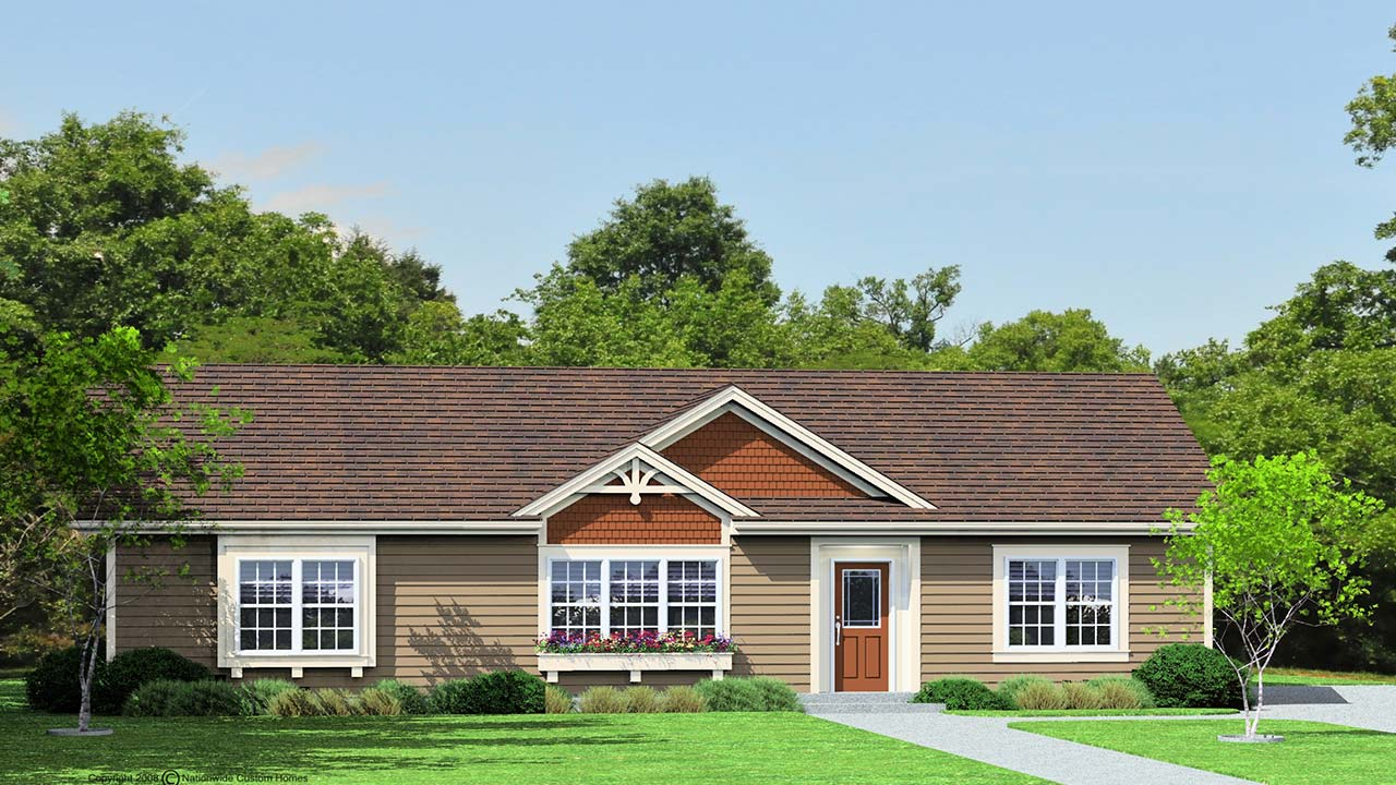 Mayberry I ranch modular home rendering with traditional exterior