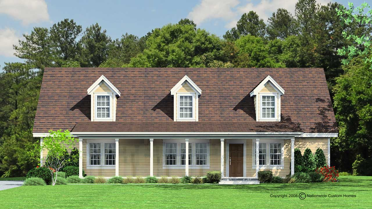 Liberty cape cod modular home rendering with yellow exterior