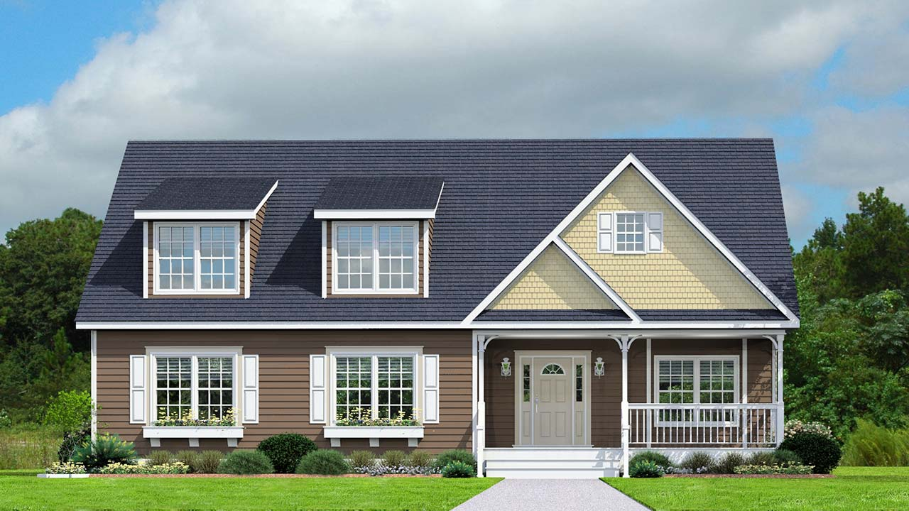 Monroe cape cod modular home rendering with craftsman exterior